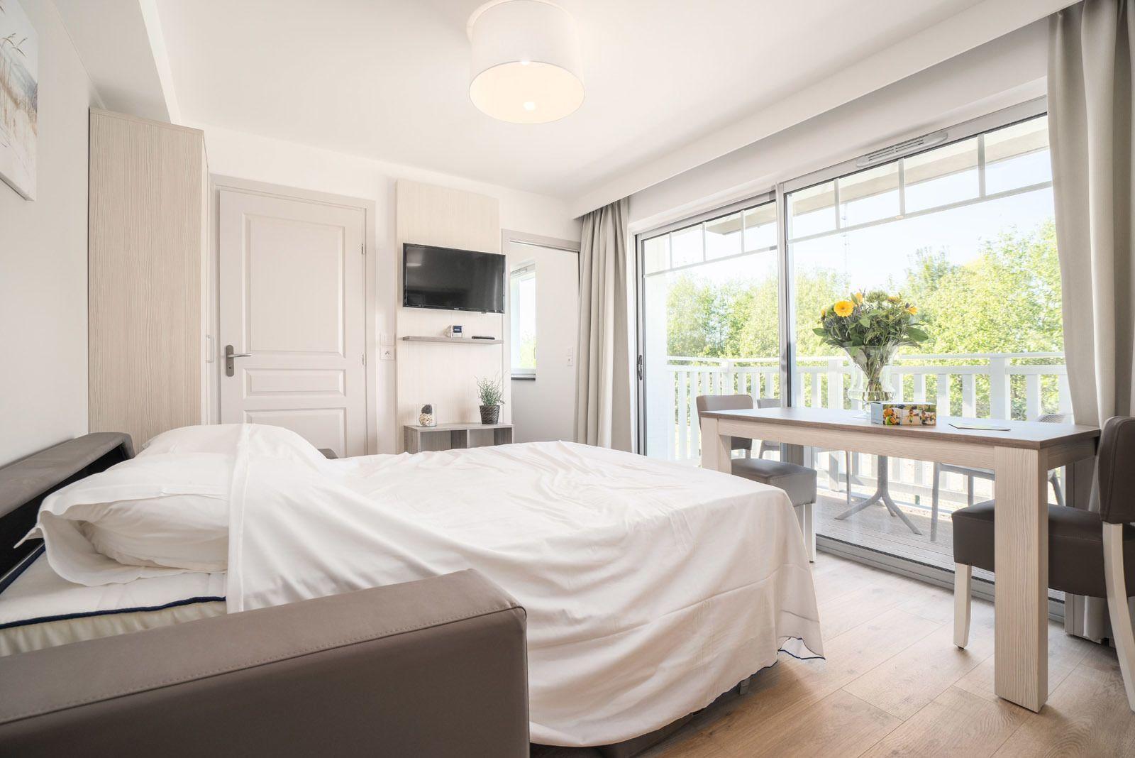 Basic vakantiestudio voor 4 personen met slaapbank en balkon