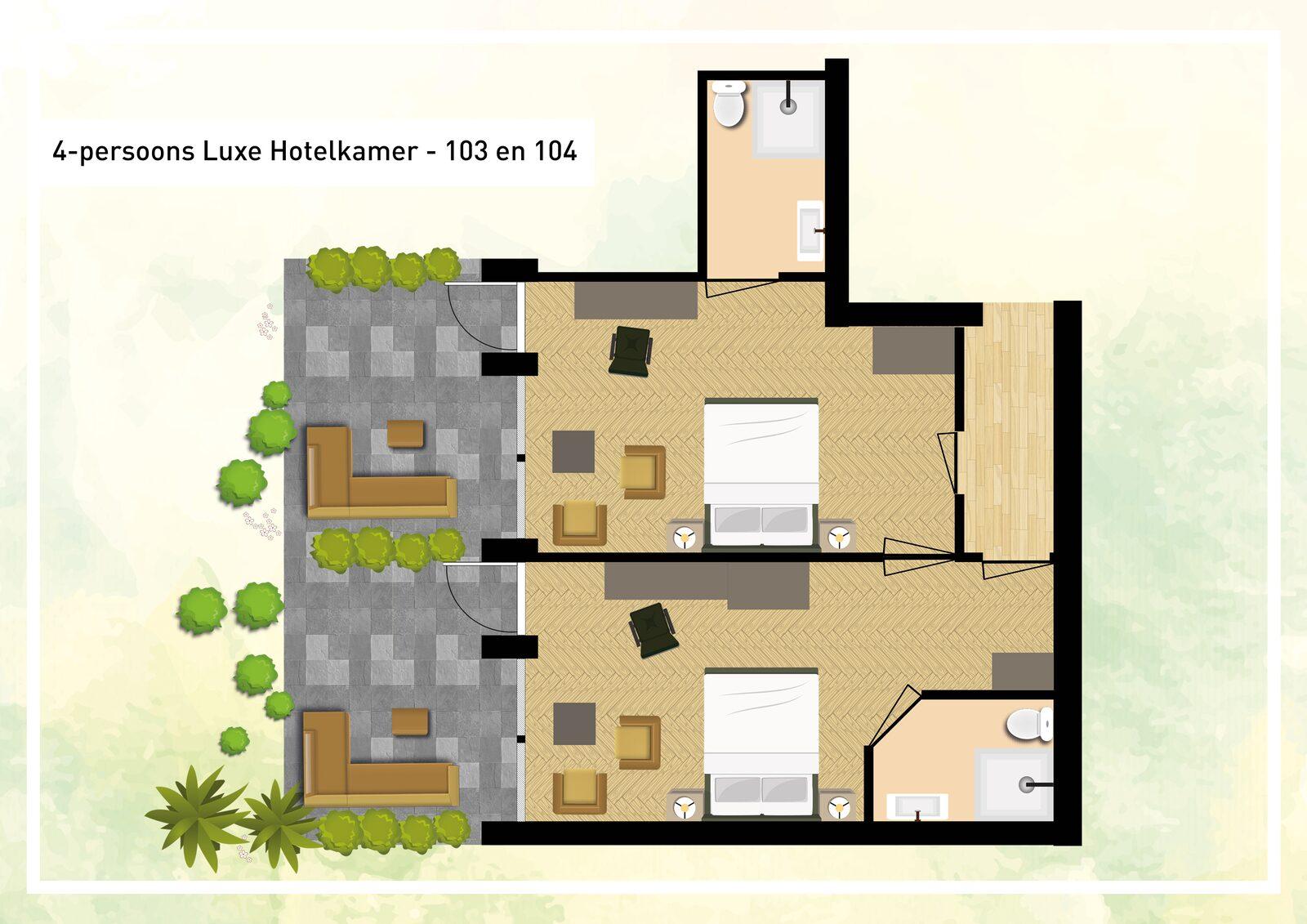 Hotelzimmer für 4 Personen