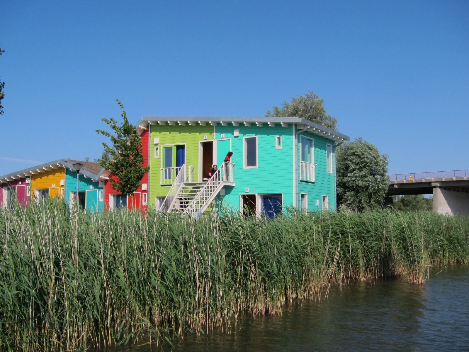 2 x two-person eco cabins next to each other on the waterfront