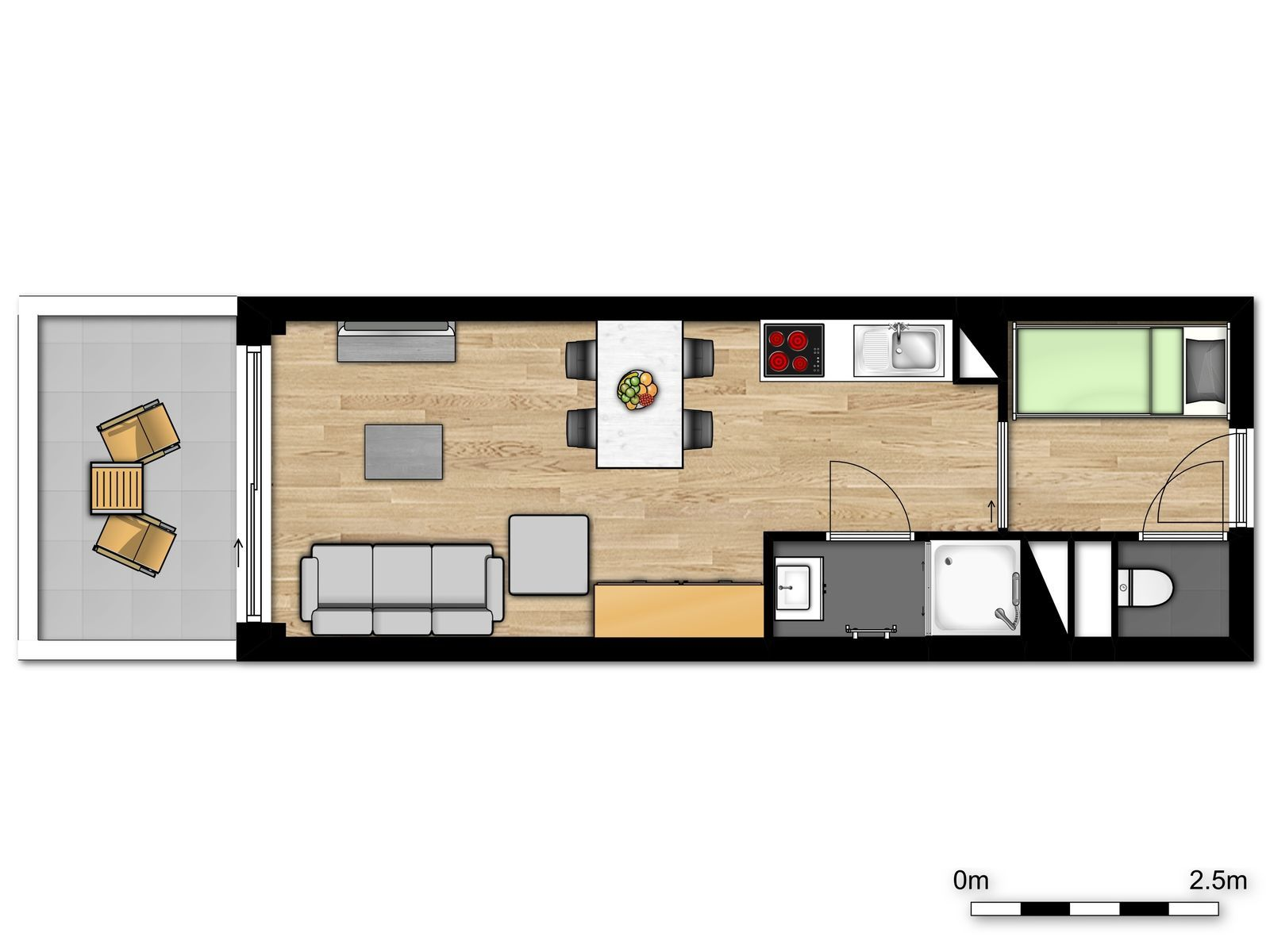 New standard studio for 4 people with sofa bed and bunk bed
