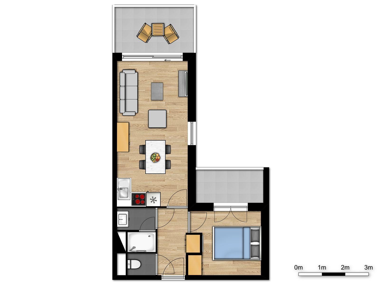 Nieuwe standaard suite voor 4 personen met dubbel bed en zetelbed