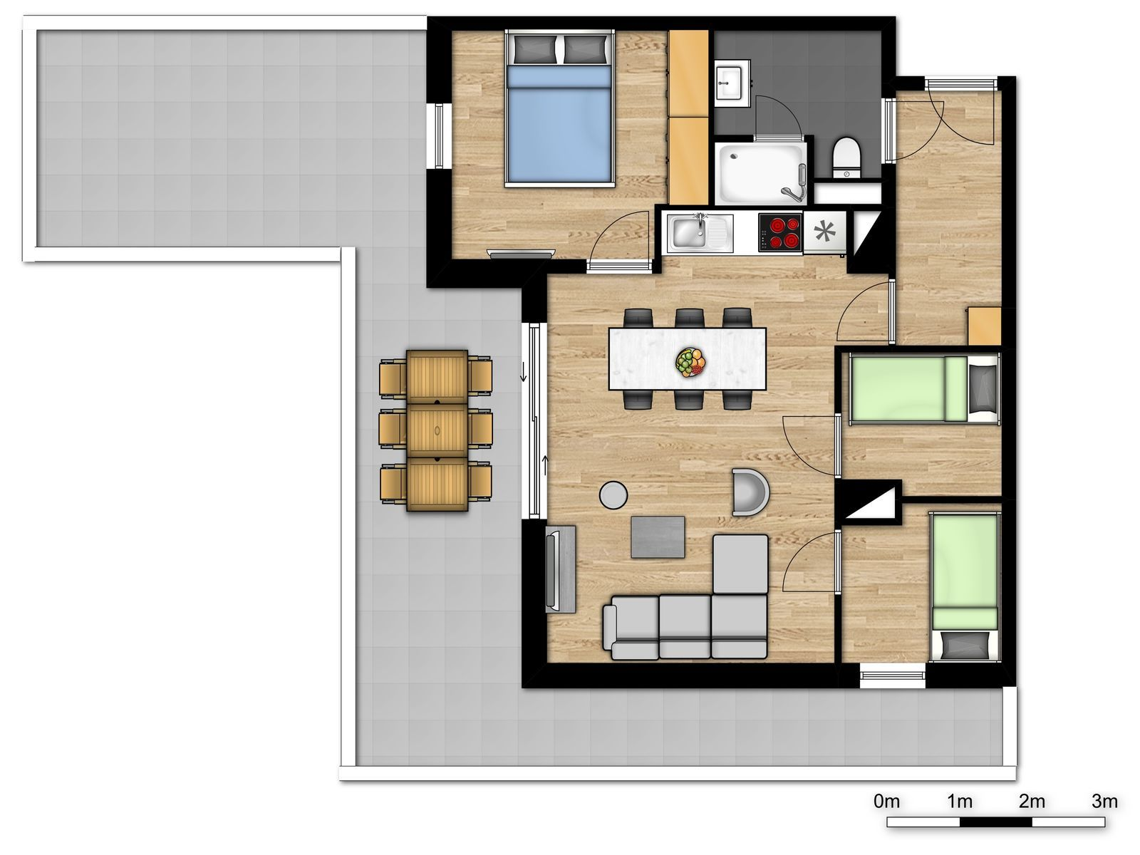 New family penthouse for 6 people with 2 bunk beds