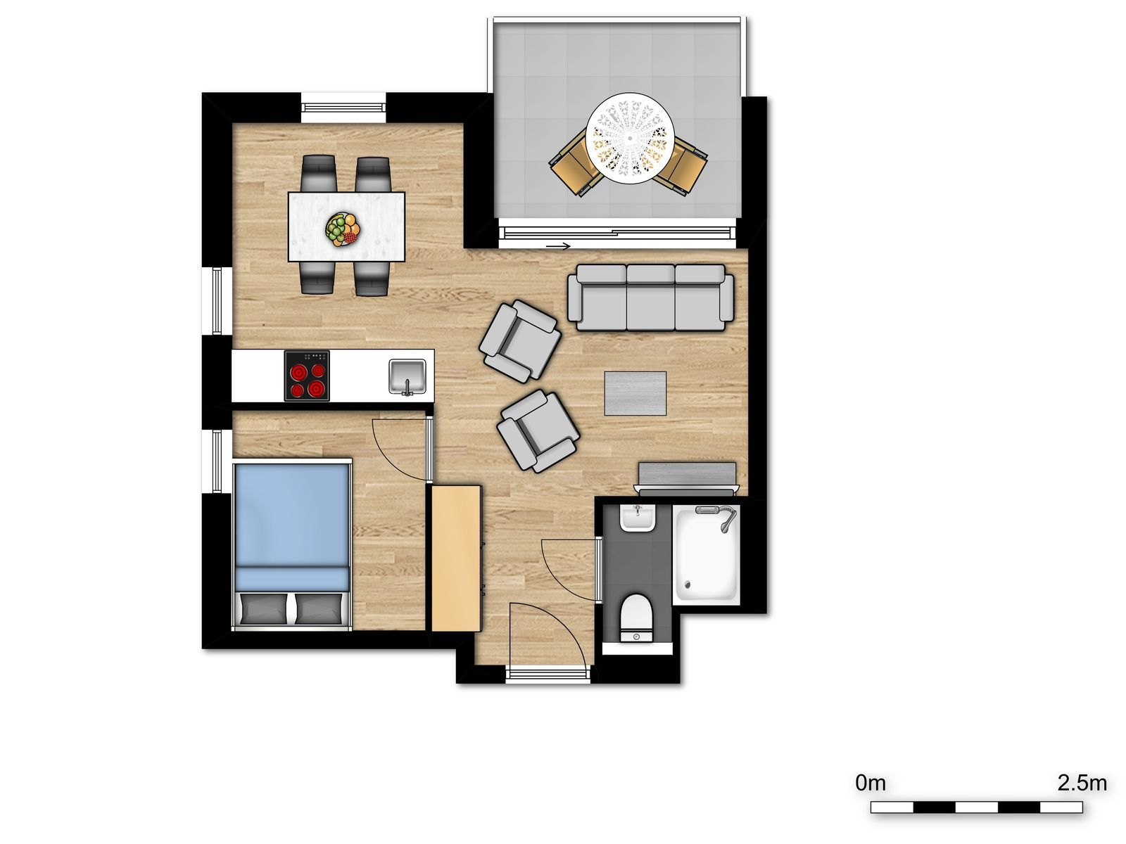 New Holiday Suite for 4 people with sofa bed and double bed