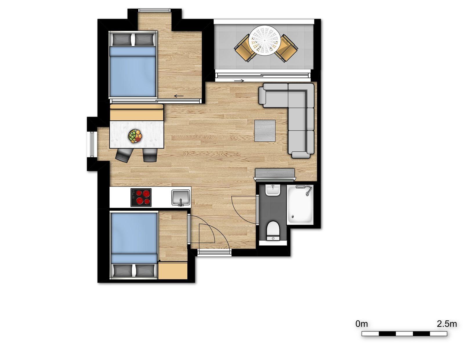 Nouveau logement de vacances pour 4 personnes avec 2 lits doubles