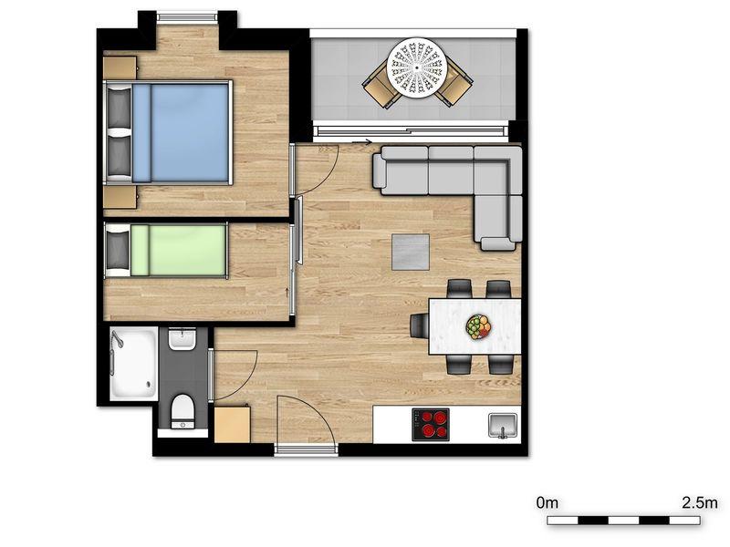 5p (2 Volw 3 kind) Nieuw vakantieverblijf met slaapkamer en slaaphoek in Jabbeke België