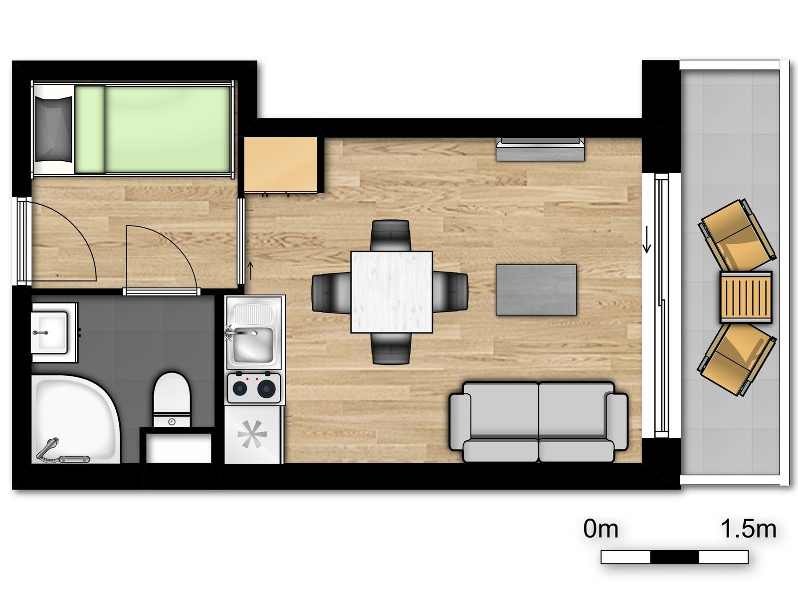 Standard studio for 4 people with sofa bed and balcony