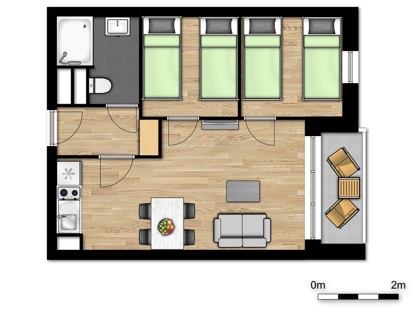 Family suite for 4 people with single beds and balcony